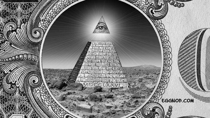 Пирамида с глазом в треугольники на долларе